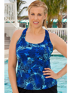 DD Cup Blue Floral Racer BackTankini Top by Aquabelle