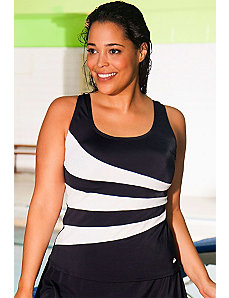 Black and White Spliced Tankini Top by Aquabelle