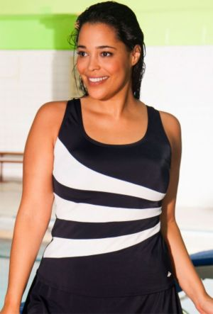 Black and White Spliced Tankini Top