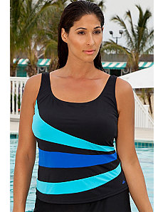 Turqoise and Blue Spliced Tankini Top by Aquabelle