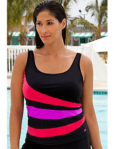 Red and Purple Spliced Tankini Top by Aquabelle