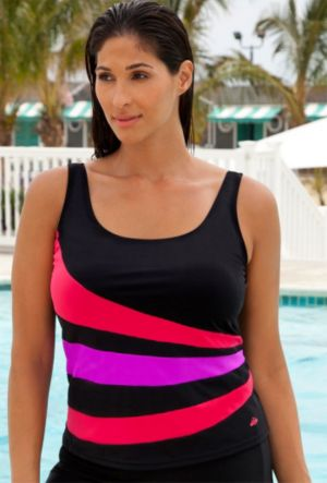 Red and Purple Spliced Tankini Top