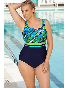 Color Blocked  Diagonal Paint Swimsuit by Aquabelle