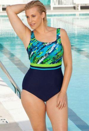 Color Blocked Diagonal Paint Swimsuit