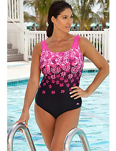 Engineered Pink Exploded Floral Swimsuit by Aquabelle