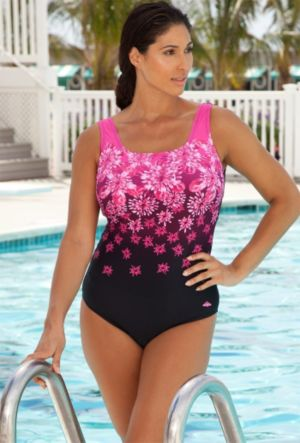 Engineered Pink Exploded Floral Swimsuit