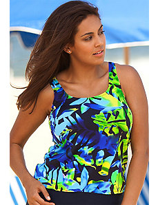 Beach Belle Plus Size Navy Floral Tankini Top by Beach Belle