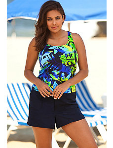 Beach Belle Plus Size Navy Floral Cargo Shortini by Beach Belle