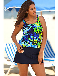 Beach Belle Plus Size Navy Floral Skirtini by Beach Belle