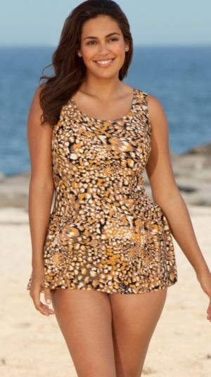 Gold Feather Animal Princess Swimdress