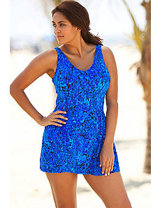 Beach Belle Periwinkle Animal V-Neck Swimdress by Beach Belle