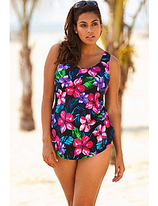 Beach Belle Pink Falls Sarong Front Swimsuit by Beach Belle