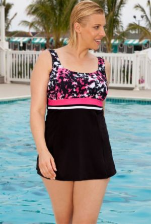 Aquabelle Color Blocked Raspberry Swimdress