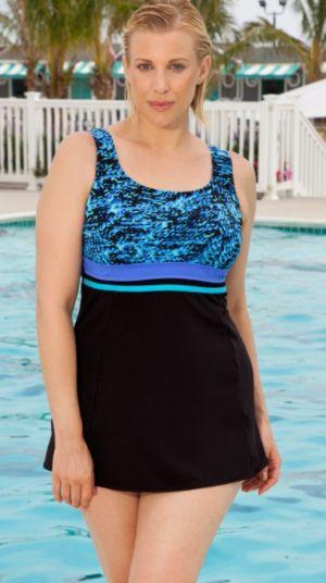 Color Blocked Blue Princess Swimdress