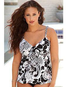 Black & White Paisley Tie Tankini Top by Beach Belle