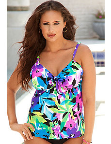 Costa Rica Tie Front Flared Tankini Top by Beach Belle