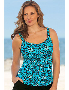 Turqoise Abstract Animal Tankini Top by Beach Belle