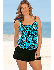 Turqoise Animal Flared Cargo Shortini by Beach Belle