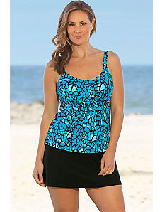 Turqoise Animal Flared Skirtini by Beach Belle