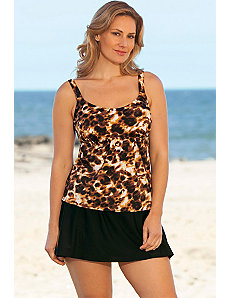 Brown Animal Flared Skirtini by Beach Belle