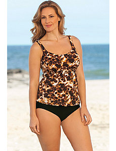 Brown Animal Flared Tankini by Beach Belle