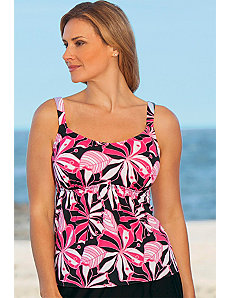Tropical Pink Flared Tankini Top by Beach Belle