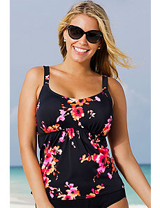 Orange Poppies Flared Tankini Top by Beach Belle