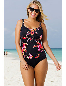 Orange Poppies Flared Tankini by Beach Belle