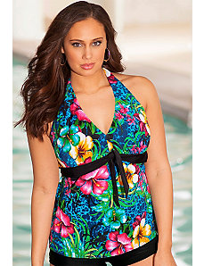 Oahu Tie Front Halter Tankini Top by b. belle