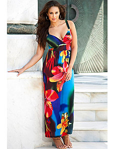 South Pacific Plus Size V Neck Maxi Dress by Swim & Sun