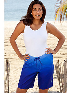 Royal Ombre Plus Size Long Board Short by Beach Belle