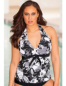 Techno Floral Halter Tankini Top by b. belle