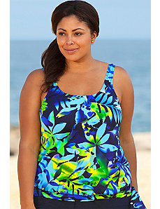 Navy Floral Blouson Tankini Top by Beach Belle