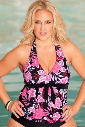 Pink Maui Tie Front Halter Tankini Top