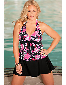 Pink Maui Tie Front Halter Skirtini by b. belle