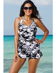 Techno Floral Halter Twist Front Swimdress by b. belle