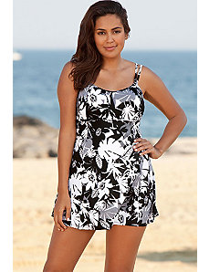 Techno Floral Lingerie Swimdress by Beach Belle