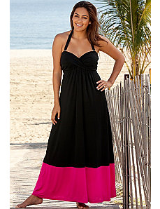 Pink Bandeau Halter Twist Maxi Dress by Beach Belle