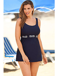 Navy Nautical Grommet Accent Swimdress by Delta Burke