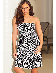 Zebra Splash Smocked Dress by b. belle
