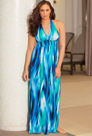 Mediterranean Halter Maxi Dress