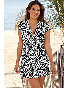 Zebra Splash Ring Front Tunic by Beach Belle