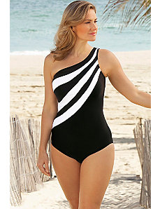 White Splice City One Shoulder Suit by Delta Burke