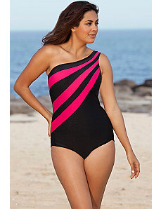 Pink Splice City One Shoulder Swimsuit by Delta Burke