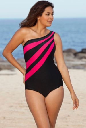 Pink Splice City One Shoulder Swimsuit