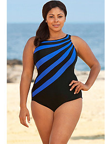 Royal Splice City High Neck Swimsuit by Delta Burke