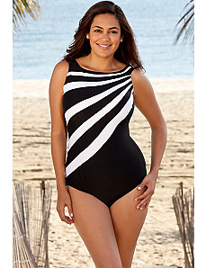 White Splice City High Neck Swimsuit by Delta Burke