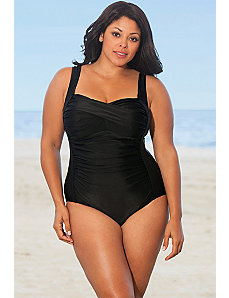 Black Twist Front Swimsuit by Delta Burke