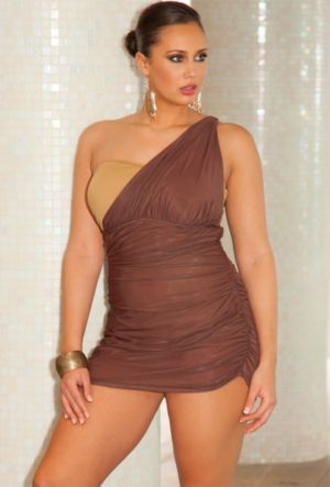 Bronze One Shoulder Swimdress