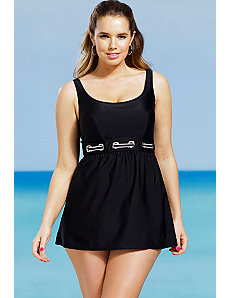 Black Nautical Grommet Swimdress by Delta Burke